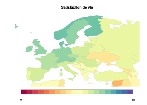 Carte de l'Europe de la satisfaction de vie