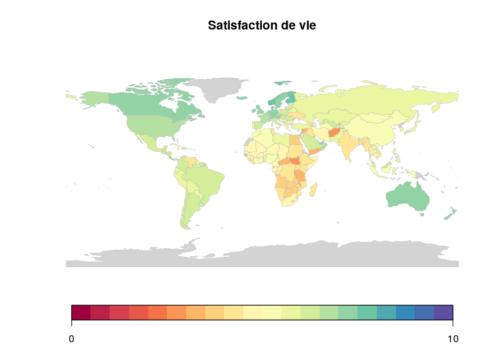 Carte du mon de la satisfaction de vie